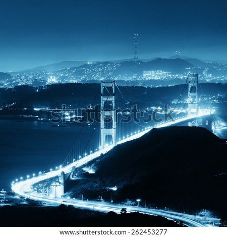 Golden Gate Bridge in San Francisco as the famous landmark viewed from mountain top. - stock photo