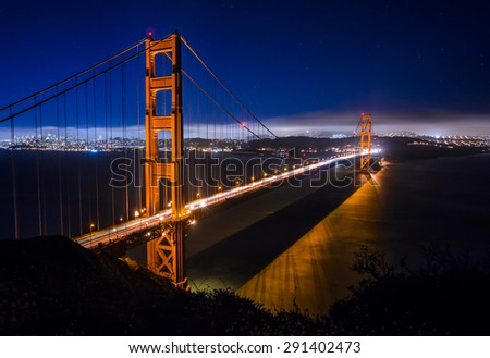 Golden Gate Bridge in San Francisco at night just after sunset - stock photo