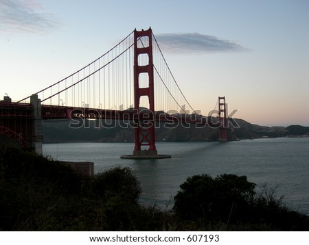 Golden Gate Bridge in San Francisco background row - stock photo