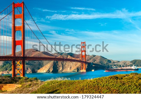 Golden Gate bridge in San Francisco, California, USA. - stock photo