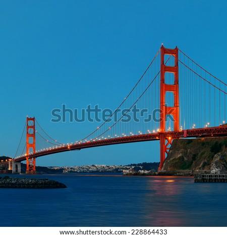 Golden Gate Bridge in San Francisco in early morning - stock photo