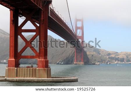 Golden Gate Bridge in San Francisco, shot from the Presidio, towards Marin County - stock photo