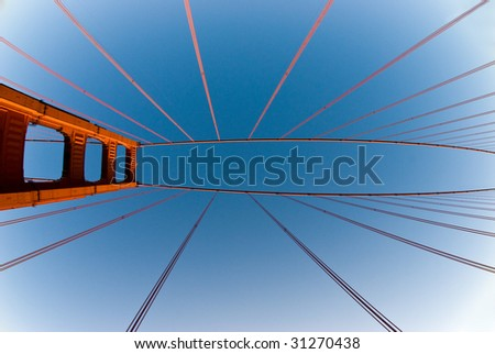 Golden Gate Bridge in  San Fransisco. Abstract view - stock photo