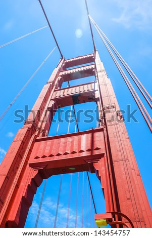 Golden Gate Bridge in the fog, taken in 2007 - stock photo