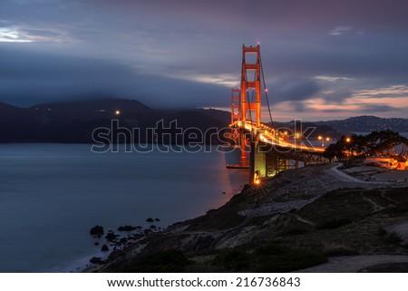 Golden Gate Bridge, night, San Francisco, California - stock photo