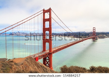 Golden Gate Bridge on foggy day, San Francisco, California - stock photo