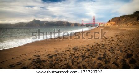 Golden Gate Bridge over a bay, San Francisco Bay, San Francisco, California, USA - stock photo