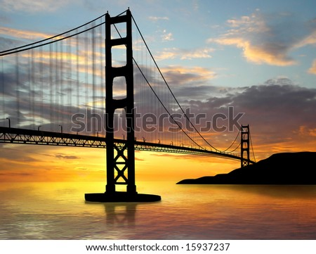 Golden Gate Bridge over sunset - stock photo