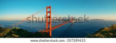Golden Gate Bridge panorama in San Francisco as the famous landmark. - stock photo