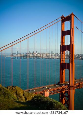 Golden Gate bridge pillar and San Francisco seen from Battery Spencer - stock photo