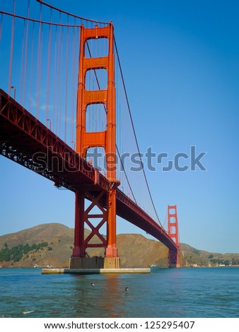 Golden Gate bridge seen from Fort Point, San Francisco - stock photo