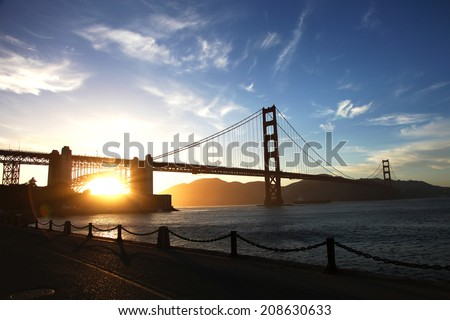 Golden Gate Bridge silhouette during sunset - stock photo