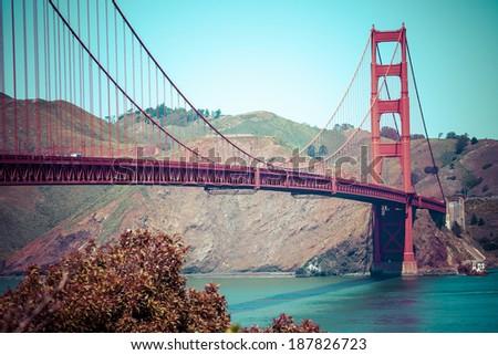 Golden gate bridge vivid day landscape, San Francisco  - stock photo