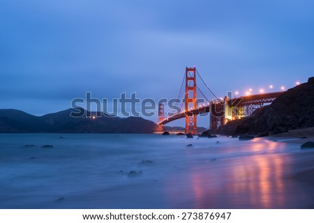 Golden Gate Bridge with beautiful Twilight time - stock photo