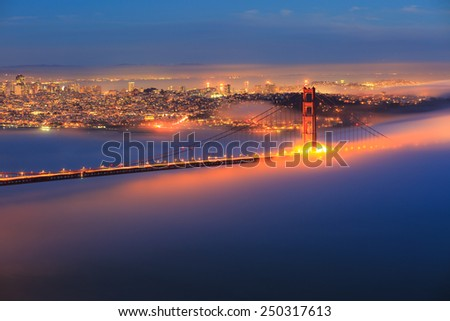 Golden Gate Bridge with fog - stock photo