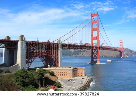 Golden Gate Bridge with Fort Point - stock photo