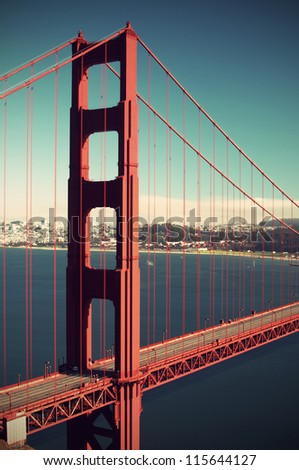 Golden Gate Bridge without cars, vintage style, long term exposure, San Francisco, California, USA, - stock photo