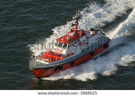 Golden Gate Coast guard boat full speed - stock photo