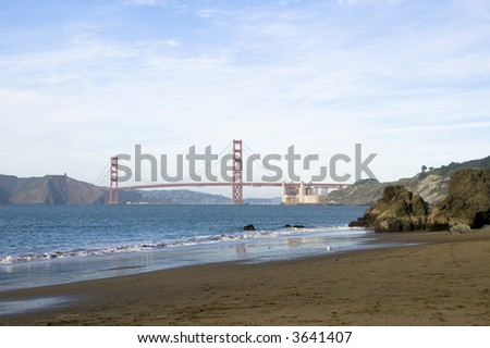golden gate from china beach at dusk - stock photo