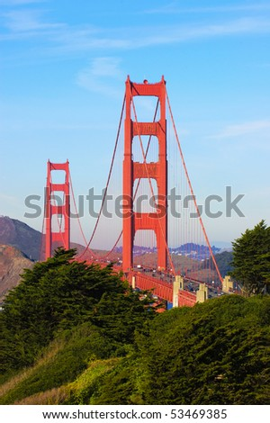 Golden Gate from the presidio in San Francisco - stock photo