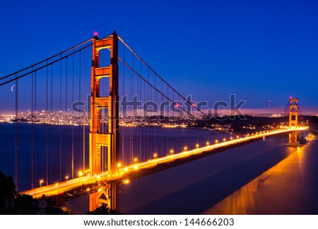 Golden Gate Glow in San Francisco - stock photo