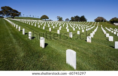 Golden Gate National Cemetery is a U.S. National Cemetery, San Bruno, CA. - stock photo