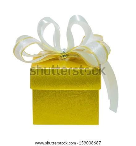 golden gift box isolate on white background - stock photo