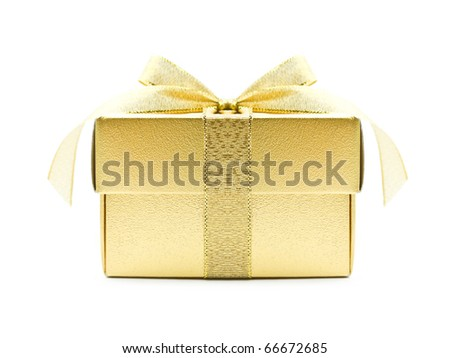 Golden gift box on white background - stock photo