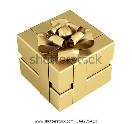Golden gift box with bow and ribbons isolated 3d rendering - stock photo