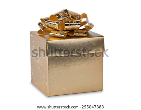 Golden gift box with gold ribbon. Image is isolated on white with light shadow.