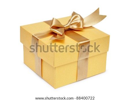 Golden gift box with golden ribbon over white background - stock photo