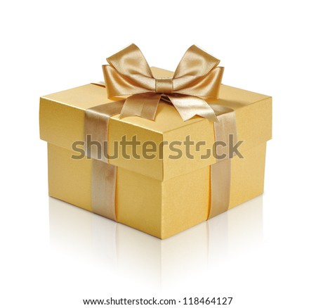 Golden gift box with golden ribbon over white background. Clipping path included. - stock photo