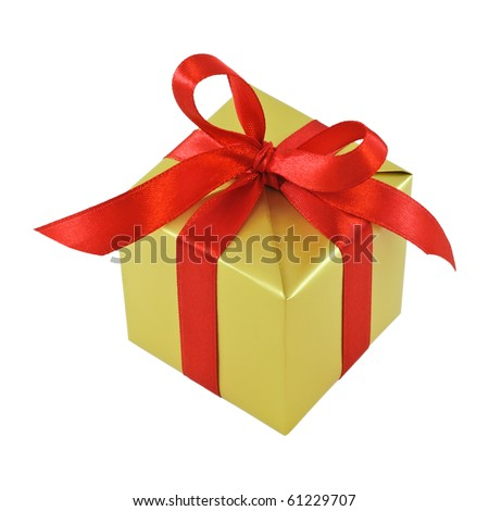 Golden gift wrapped present with red satin ribbon bow isolated on white - stock photo