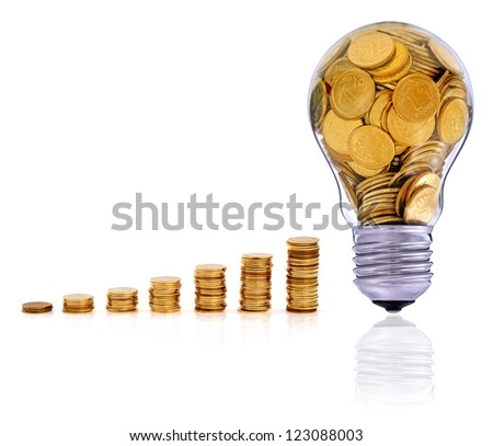 Golden  glass lightbulb  creative symbol  of  business, renewable energy sources - stock photo