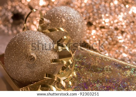 golden glass spheres in Christmas bright background - stock photo