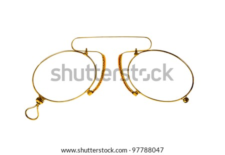 Golden glasses (pince-nez) on white  with clipping paths. - stock photo