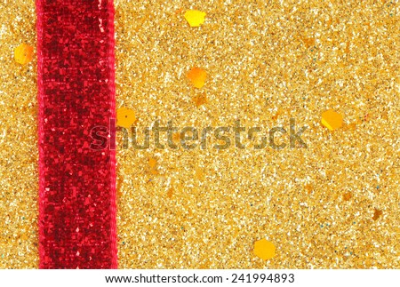 golden glitter with ribbon background - stock photo