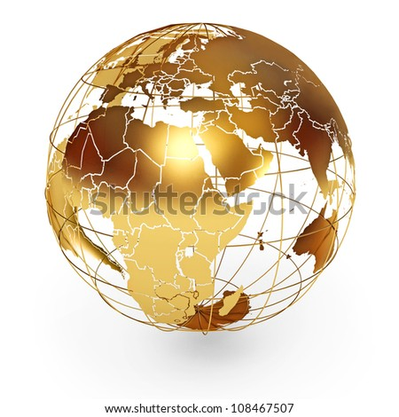 Golden Globe. Icon isolated on white background. 3d render - stock photo