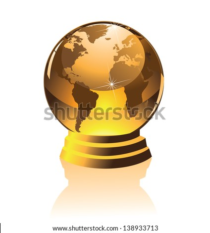 Golden globe on a pedestal. jpg. Portions of this image supplied by NASA. - stock photo