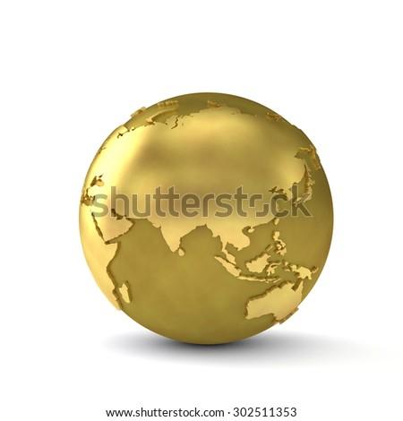 Golden globe showing Asia - stock photo