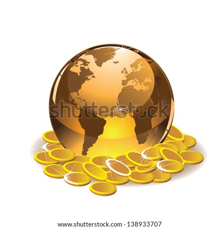 Golden globe with gold coins. jpg. Portions of this image supplied by NASA. - stock photo