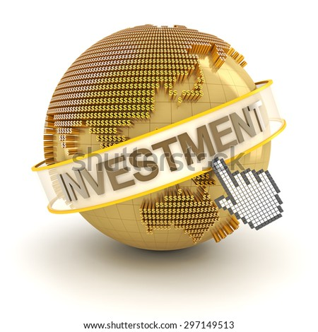 Golden globe with investment text, 3d render - stock photo