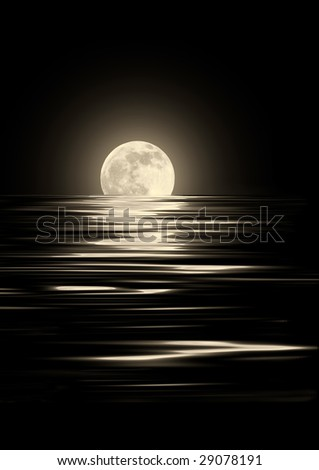 Golden glowing full moon on the Spring Equinox with reflection in rippled water,  over black  background. - stock photo