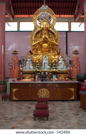 Golden Goddess of Mercy Statue - stock photo
