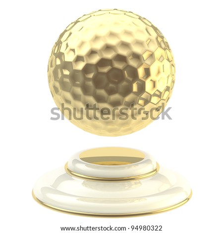 Golden golf ball champion goblet isolated on white - stock photo