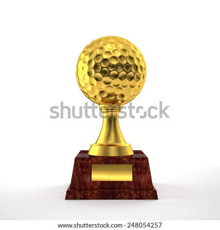 golden golf trophy on white - stock photo