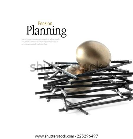 Golden goose eggs placed in a stark, black nest against a white background. Concept image for pension savings. Copy space. - stock photo