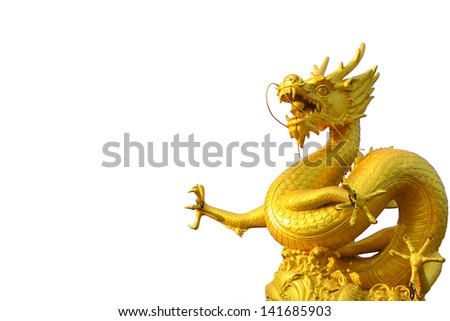 Golden gragon statue on white background - stock photo