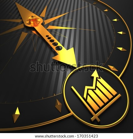 Golden Growth Chart Icon on Black Compass. - stock photo