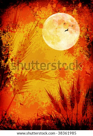 golden grunge autumn cornfield in moonlight background - stock photo